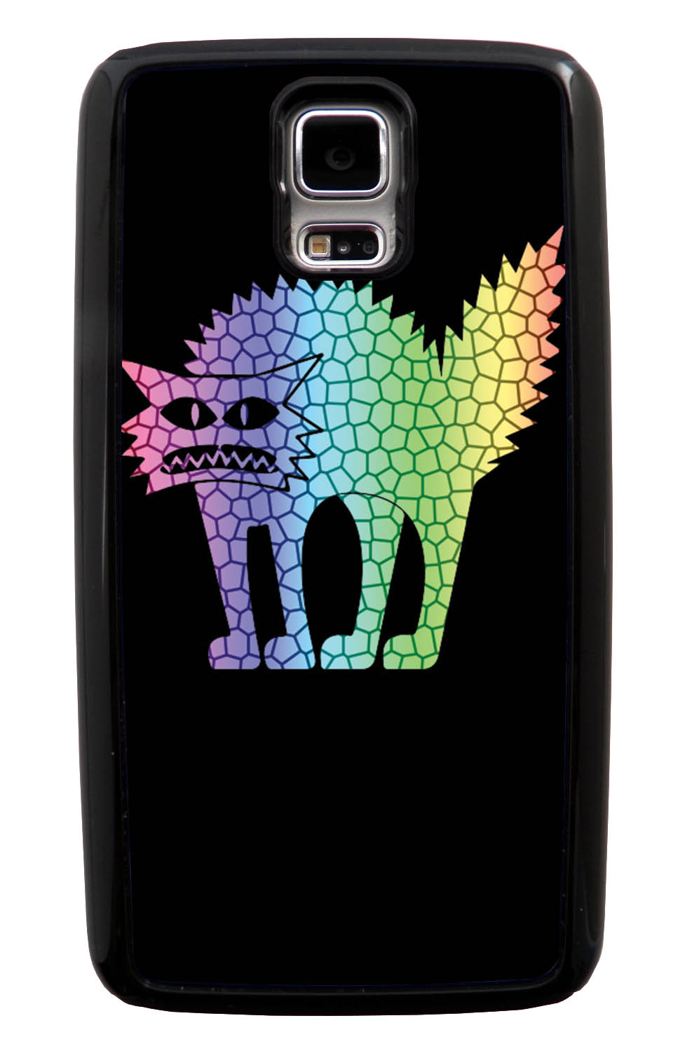 Samsung Galaxy S5 / SV Cat Case - Rainbow Colored Frenzied Cat on Black - Simple Stencils Cutout - Black Tough Hybrid Case