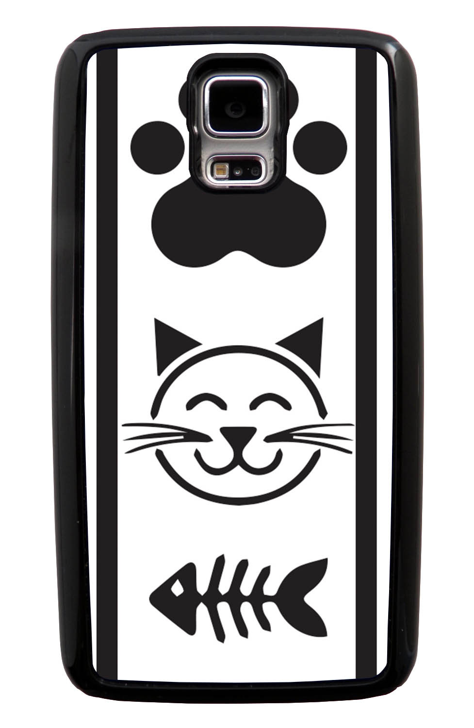 Samsung Galaxy S5 / SV Cat Case - Black Cat Icons on White - Simple Stencils Cutout - Black Tough Hybrid Case