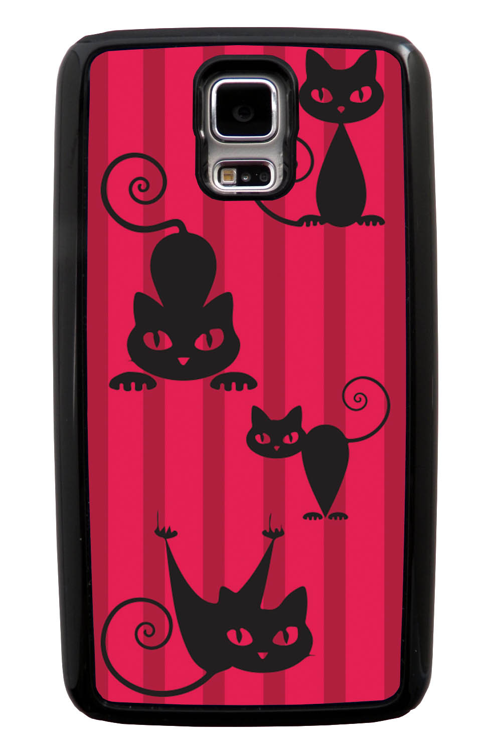 Samsung Galaxy S5 / SV Cat Case - Black Cat on Red Stripes - Simple Stencils Cutout - Black Tough Hybrid Case