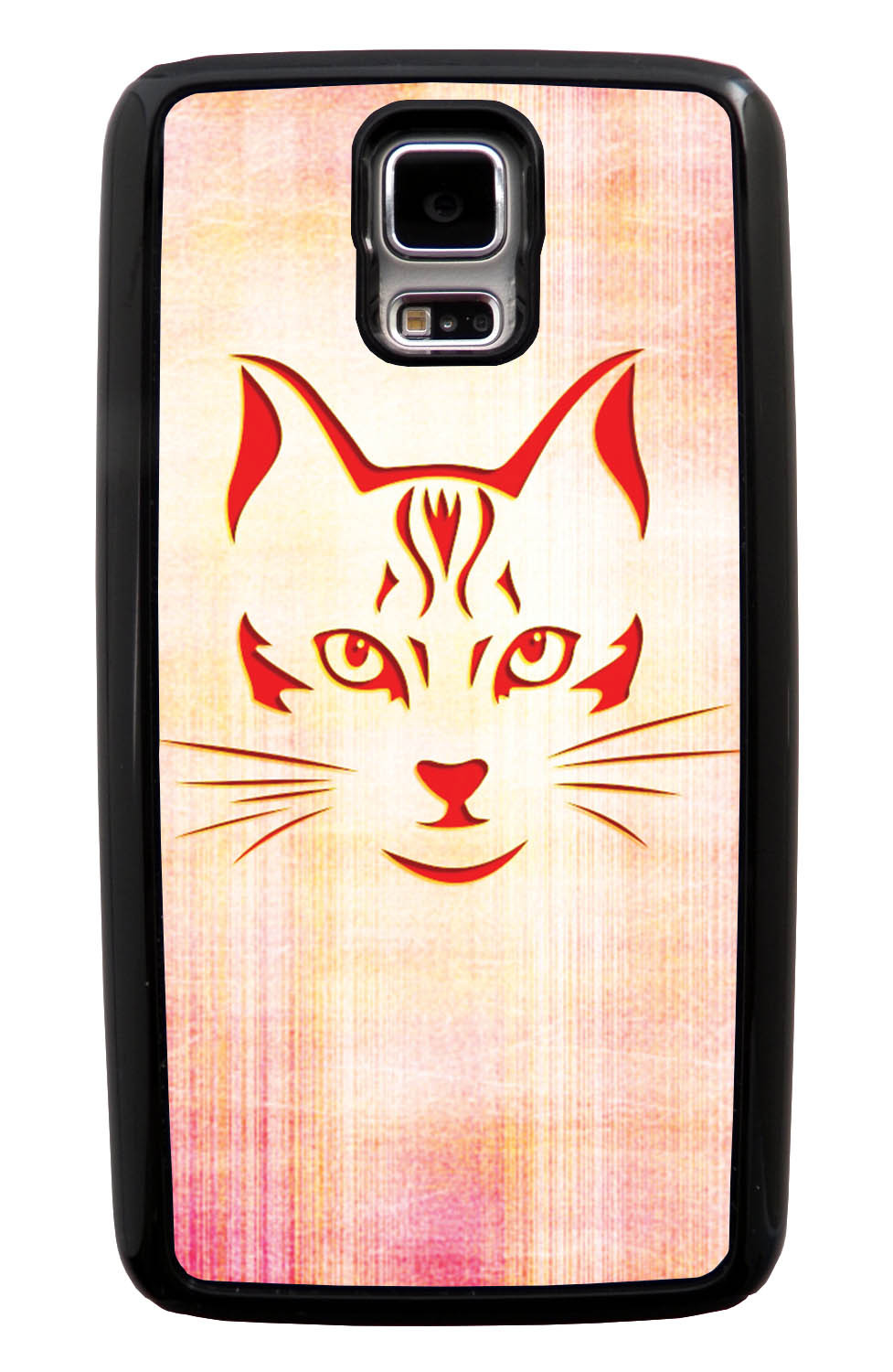 Samsung Galaxy S5 / SV Cat Case - Red Cat Face on Light Orange-Pink - Simple Stencils Cutout - Black Tough Hybrid Case