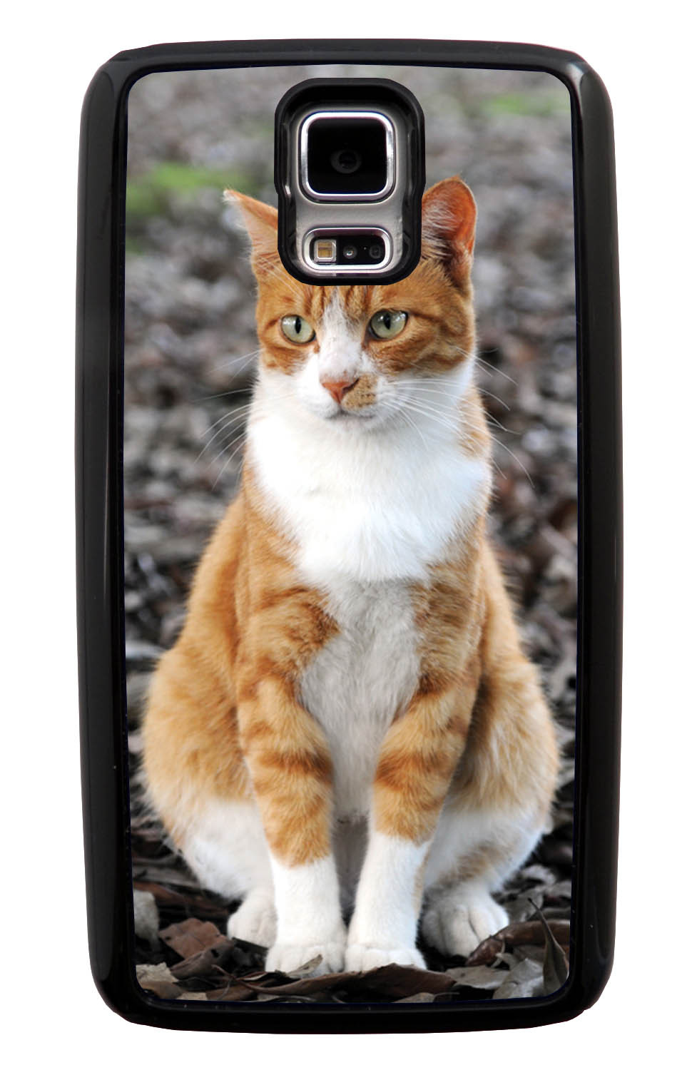 Samsung Galaxy S5 / SV Cat Case - Sitting Cat Photo - Cute Pictures - Black Tough Hybrid Case