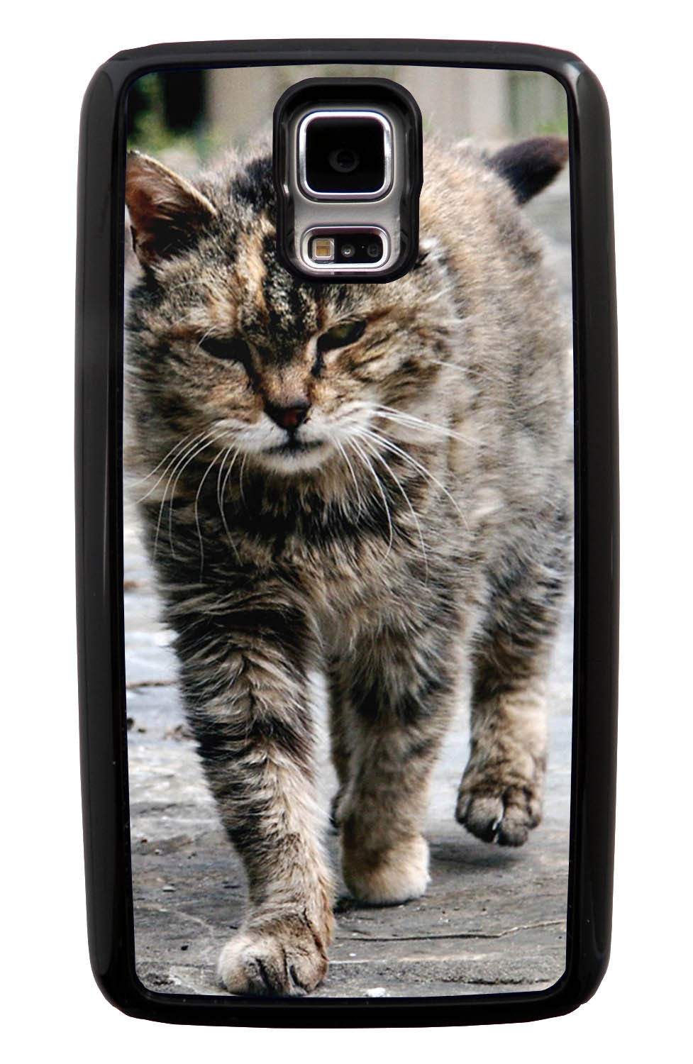 Samsung Galaxy S5 / SV Cat Case - Strutting Cat Photo - Cute Pictures - Black Tough Hybrid Case