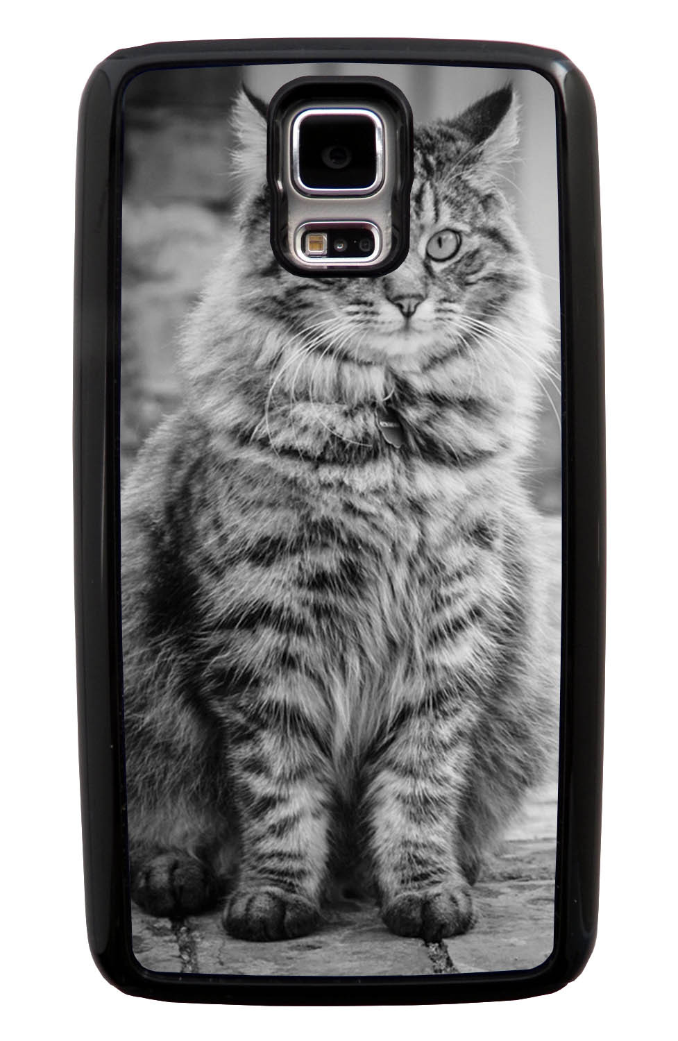 Samsung Galaxy S5 / SV Cat Case - Fur-ball Cat Photo - Cute Pictures - Black Tough Hybrid Case