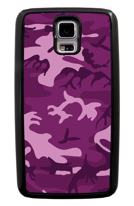 Samsung Galaxy S5 / SV Camo Case - Purple - Woodland - Black Tough Hybrid Case