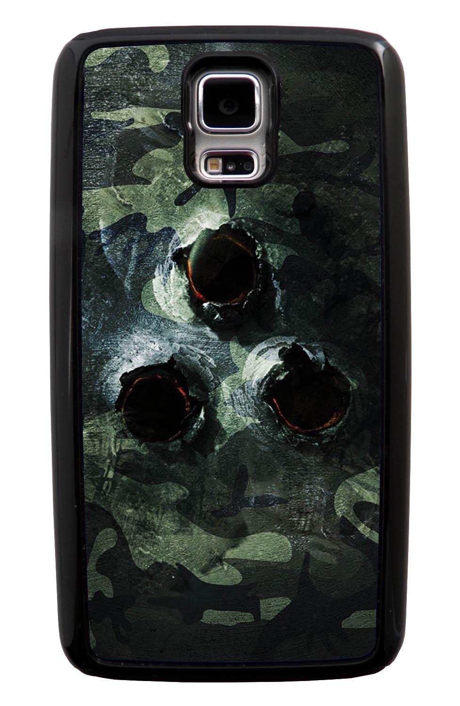 Samsung Galaxy S5 / SV Camo Case - Metal Bullet Ridden Traditional - Woodland - Black Tough Hybrid Case