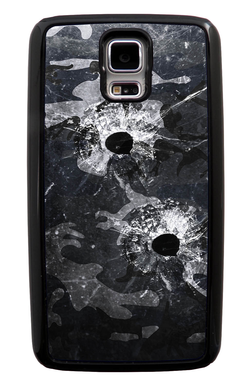 Samsung Galaxy S5 / SV Camo Case - Glass Bullet Ridden Urban Colors - Woodland - Black Tough Hybrid Case