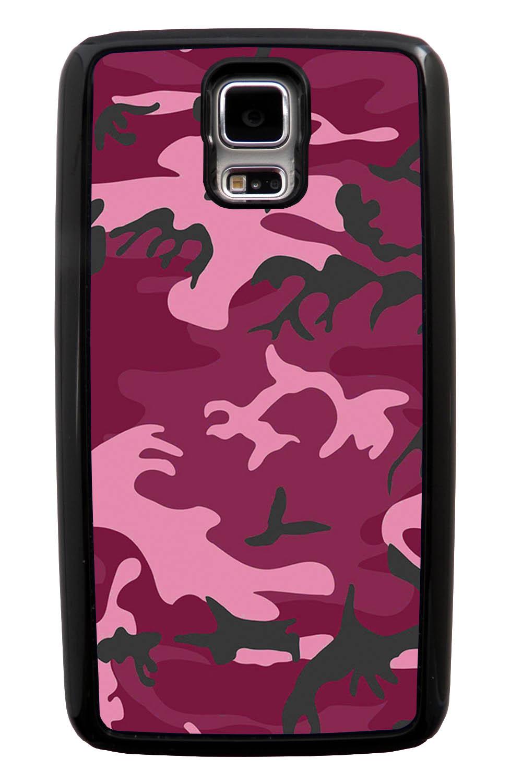 Samsung Galaxy S5 / SV Camo Case - Hot Pink - Woodland - Black Tough Hybrid Case