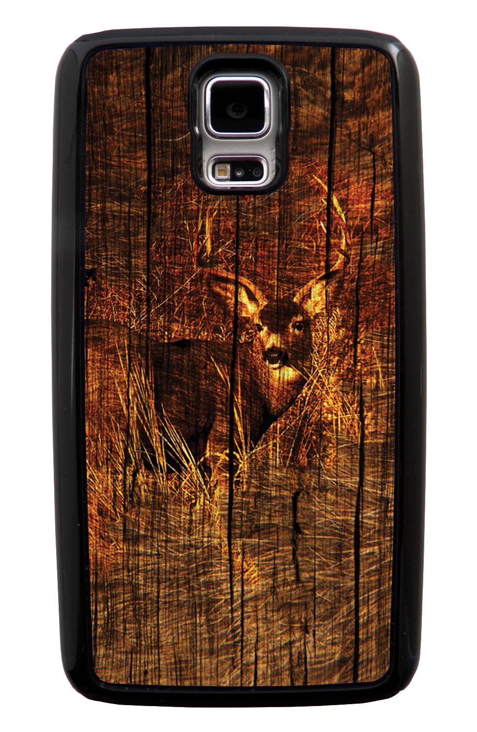 Samsung Galaxy S5 / SV Deer Case - Deer Photo with Wood Overlay - Picture - Black Tough Hybrid Case
