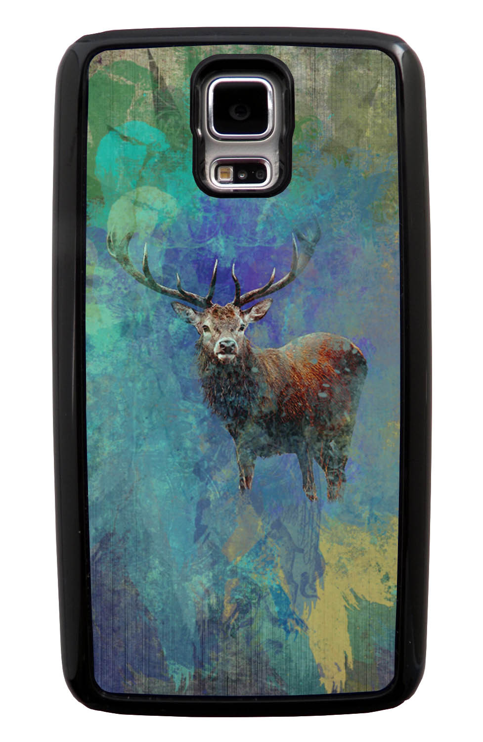 Samsung Galaxy S5 / SV Deer Case - Deer Posturing Photo on Paint Splatter Overlay - Picture - Black Tough Hybrid Case