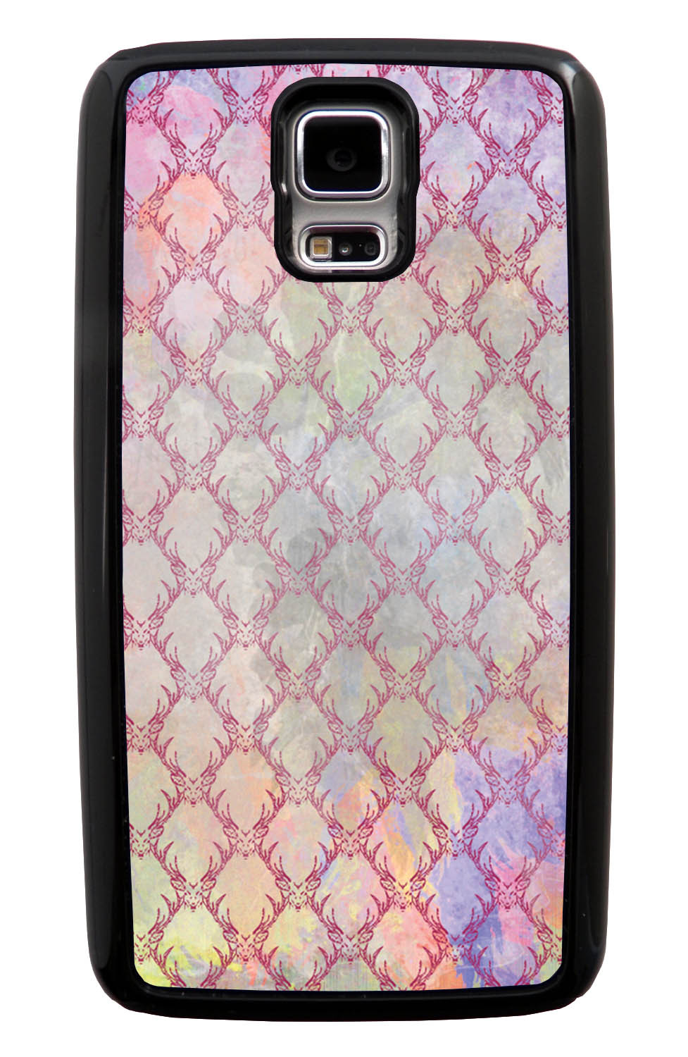 Samsung Galaxy S5 / SV Deer Case - Color Splash with Deer Mount Pattern Overlay - Picture - Black Tough Hybrid Case