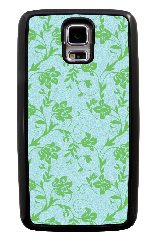 Samsung Galaxy S5 / SV Flower Case - Green on Textured Light Blue - Stencil Cutout - Black Tough Hybrid Case