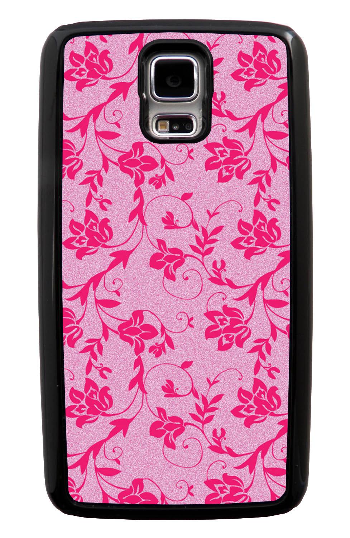 Samsung Galaxy S5 / SV Flower Case - Hot Pink on Textured Pink - Stencil Cutout - Black Tough Hybrid Case