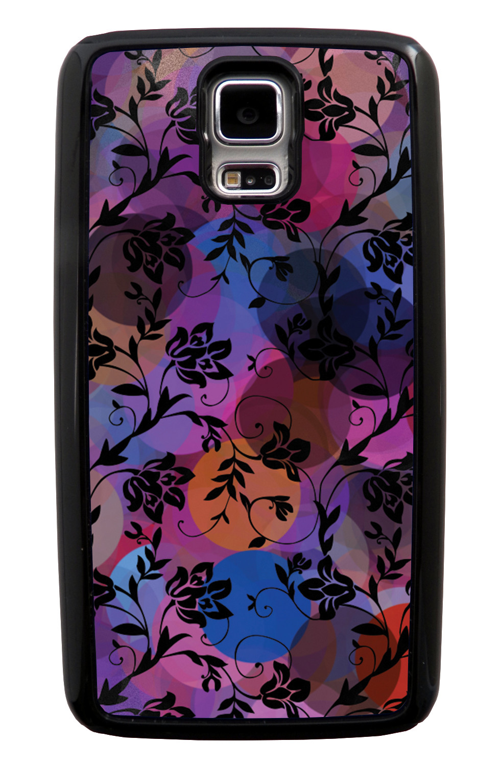Samsung Galaxy S5 / SV Flower Case - Black on Out-of-Focus Night Lights - Stencil Cutout - Black Tough Hybrid Case