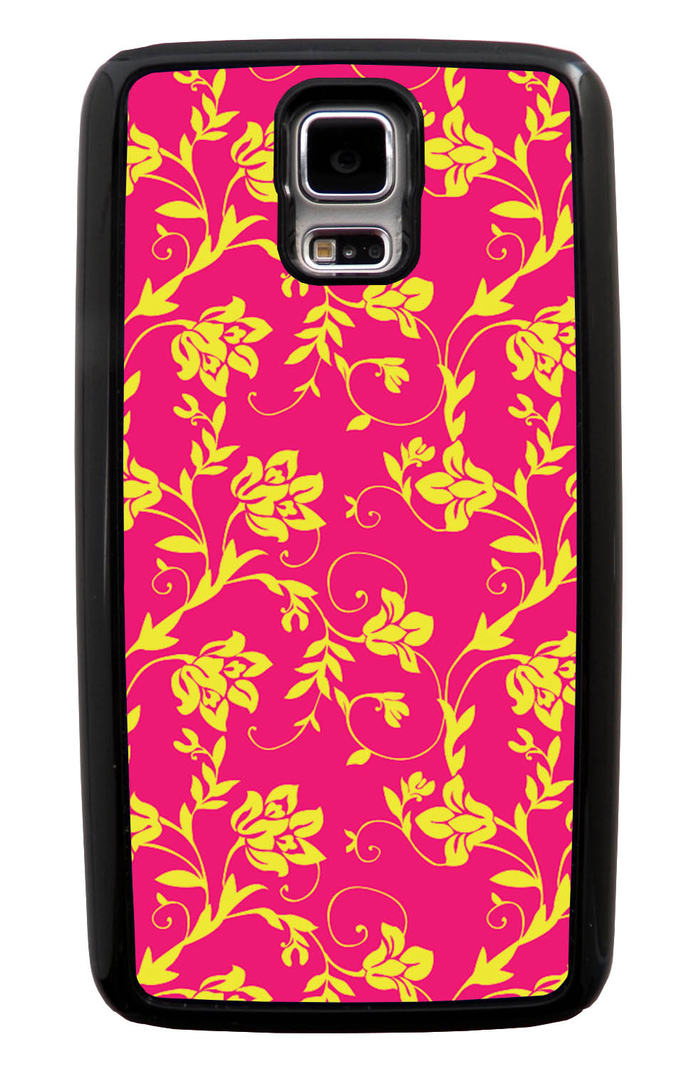 Samsung Galaxy S5 / SV Flower Case - Yellow on Hot Pink - Stencil Cutout - Black Tough Hybrid Case