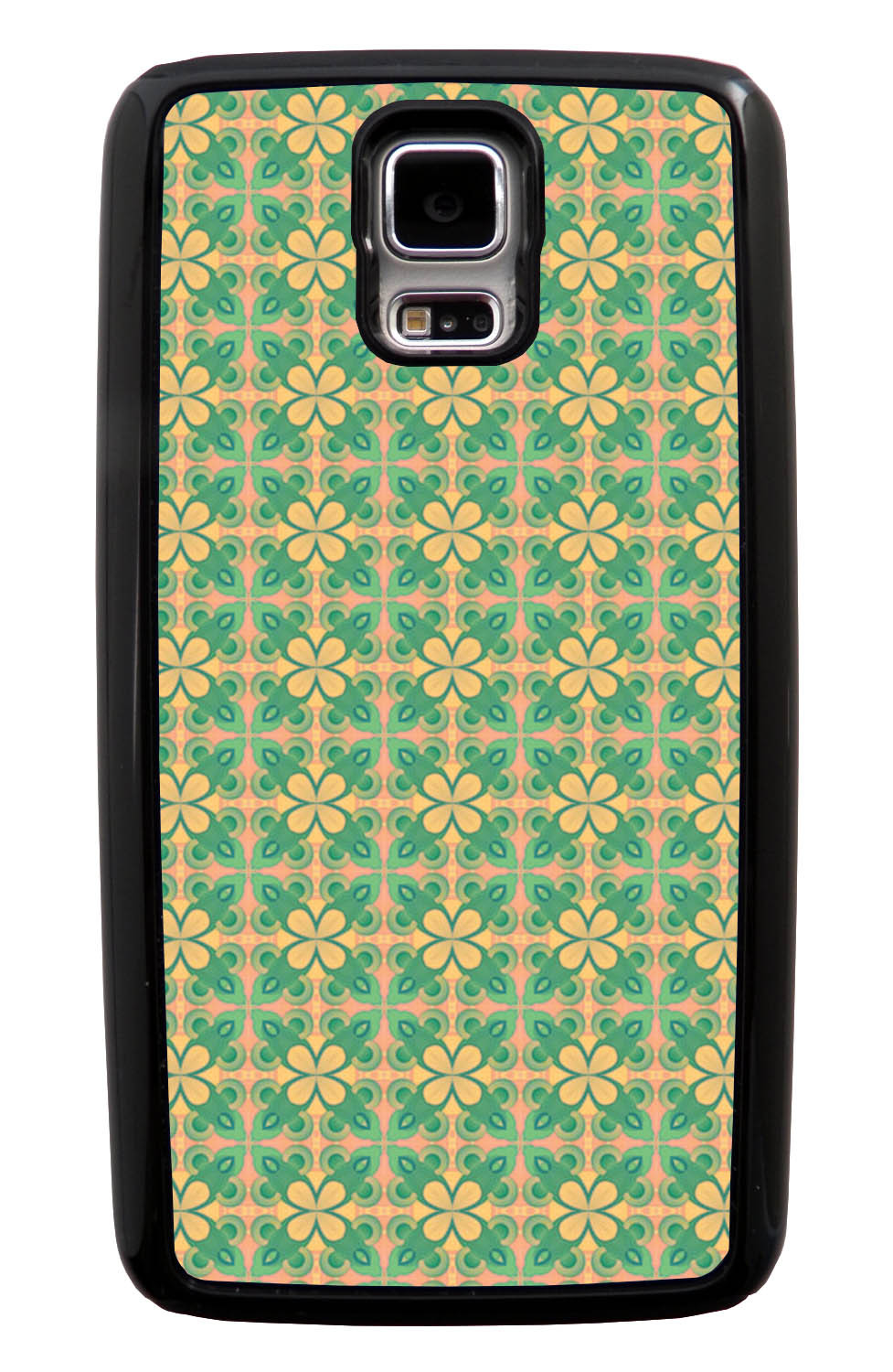 Samsung Galaxy S5 / SV Abstract Case - Green and Yellow - Flower Petal Like - Black Tough Hybrid Case