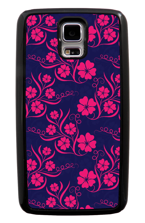 Samsung Galaxy S5 / SV Flower Case - Hot Pink on Navy Blue - Stencil Cutout - Black Tough Hybrid Case