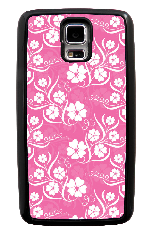Samsung Galaxy S5 / SV Flower Case - White on Pink - Stencil Cutout - Black Tough Hybrid Case