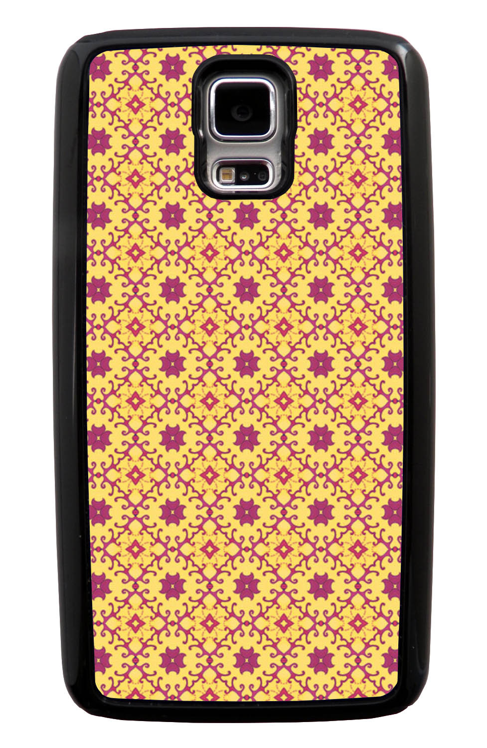 Samsung Galaxy S5 / SV Abstract Case - Red and Yellow - Flower Petal Like - Black Tough Hybrid Case