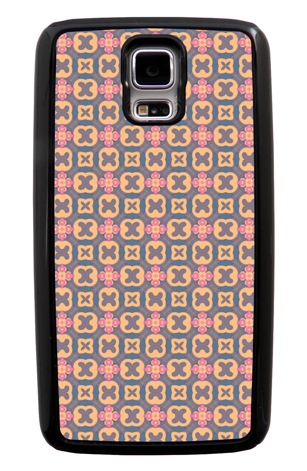 Samsung Galaxy S5 / SV Abstract Case - Pink and Blue - Flower Petal Like - Black Tough Hybrid Case