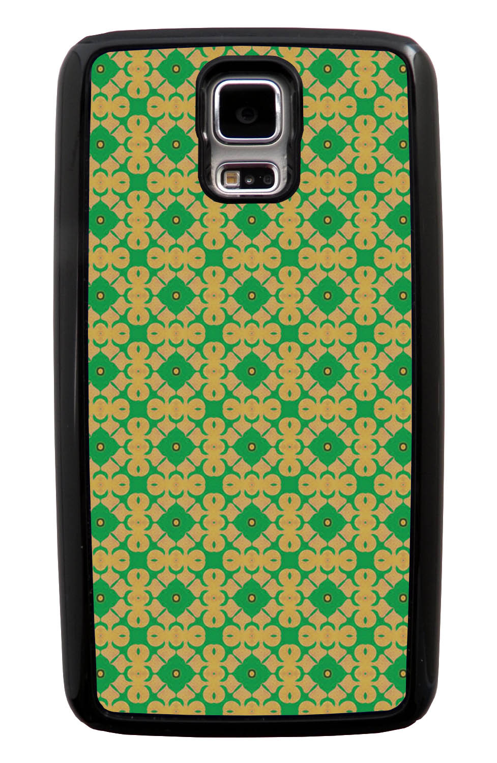Samsung Galaxy S5 / SV Abstract Case - Green and Gold - Flower Petal Like - Black Tough Hybrid Case