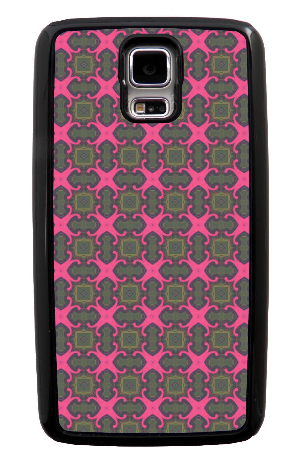 Samsung Galaxy S5 / SV Abstract Case - Olive Green and Pink - Flower Petal Like - Black Tough Hybrid Case