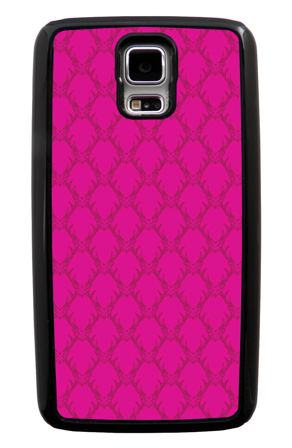 Samsung Galaxy S5 / SV Pink Case - Hot Pink Deer Pattern - Fall And Winter - Black Tough Hybrid Case