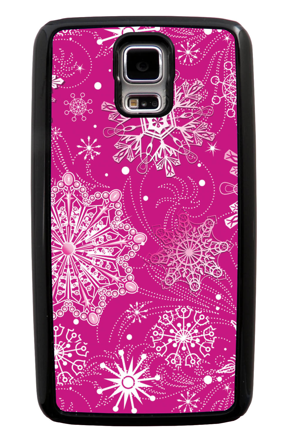 Samsung Galaxy S5 / SV Pink Case - White Snowflakes on Hot Pink - Fall And Winter - Black Tough Hybrid Case
