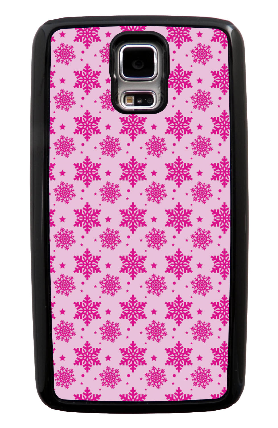 Samsung Galaxy S5 / SV Pink Case - Hot Pink Snowflakes on Pink - Fall And Winter - Black Tough Hybrid Case