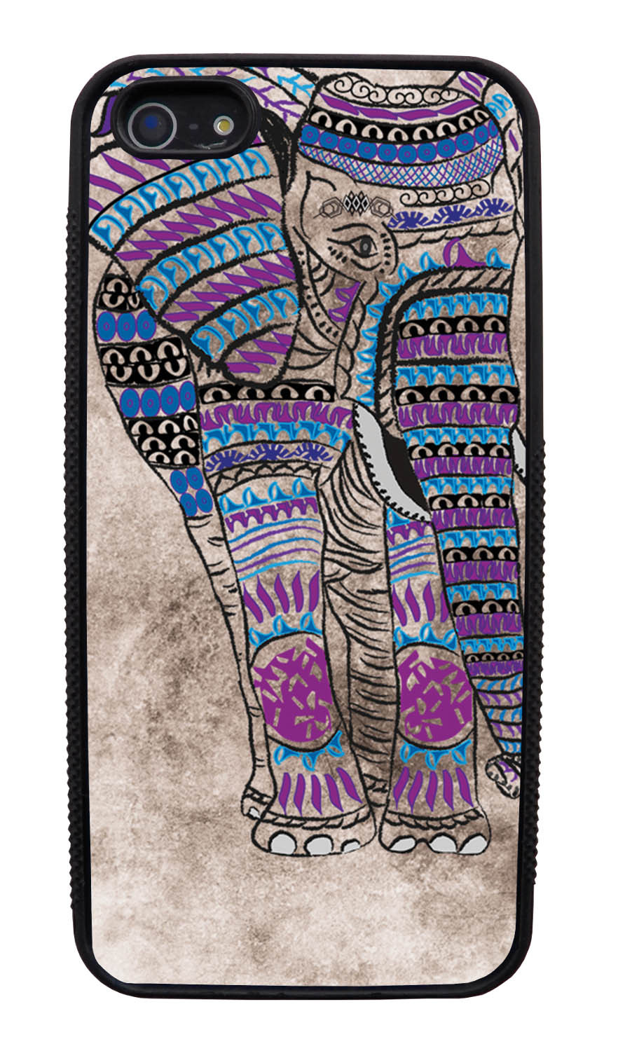Apple iPhone 5 / 5S Aztec Case - Purple and Blue Charcoal Drawing - Tribal Elephant - Black Slim Rubber Case