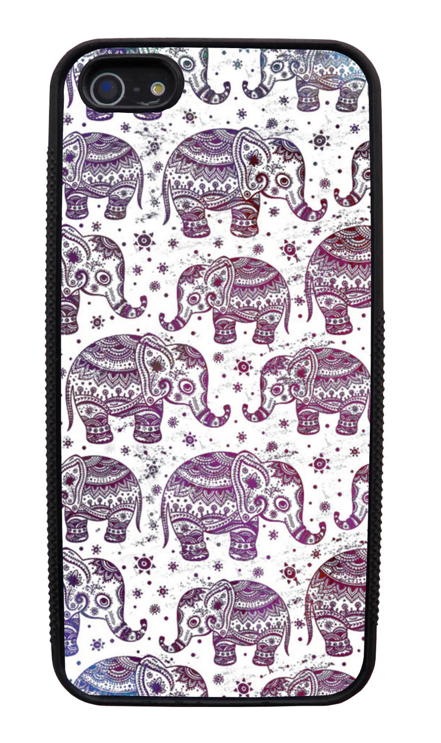 Apple iPhone 5 / 5S Aztec Case - Sun Sparkled Neon Lights Purple on White - Tribal Elephant - Black Slim Rubber Case