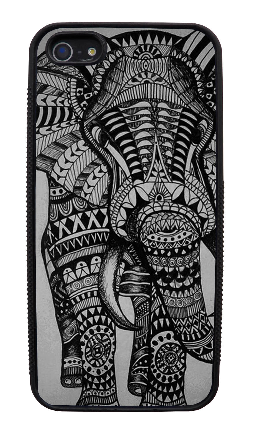 Apple iPhone 5 / 5S Aztec Case - Pen Drawing on Grey - Tribal Elephant - Black Slim Rubber Case