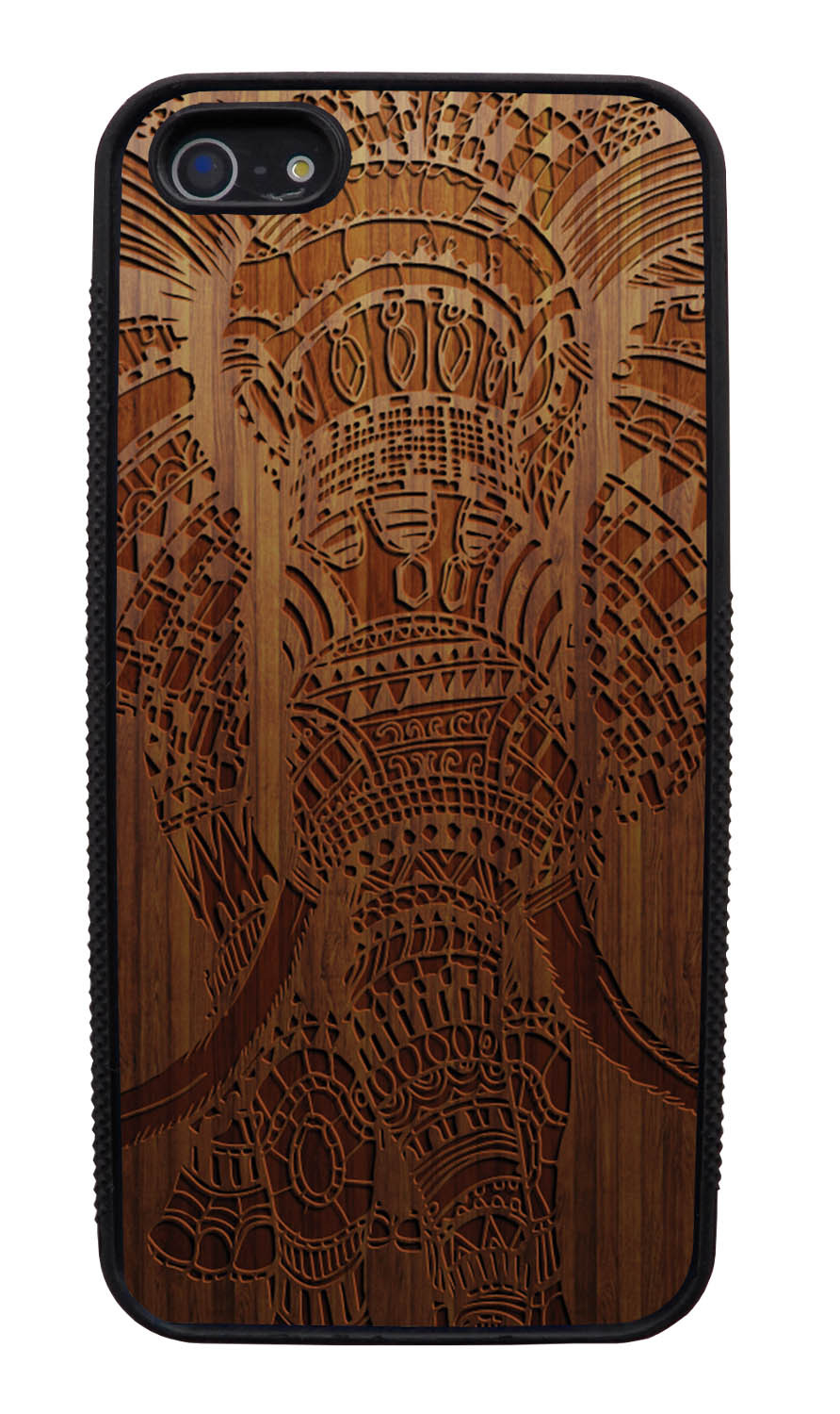 Apple iPhone 5 / 5S Aztec Case - Simulated Oak Wood Engraving - Tribal Elephant - Black Slim Rubber Case