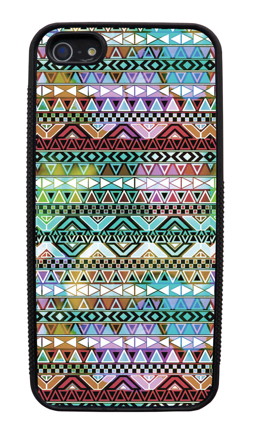 Apple iPhone 5 / 5S Aztec Case - Colorful Neon Lights - Ceramic Glaze Like - Black Slim Rubber Case