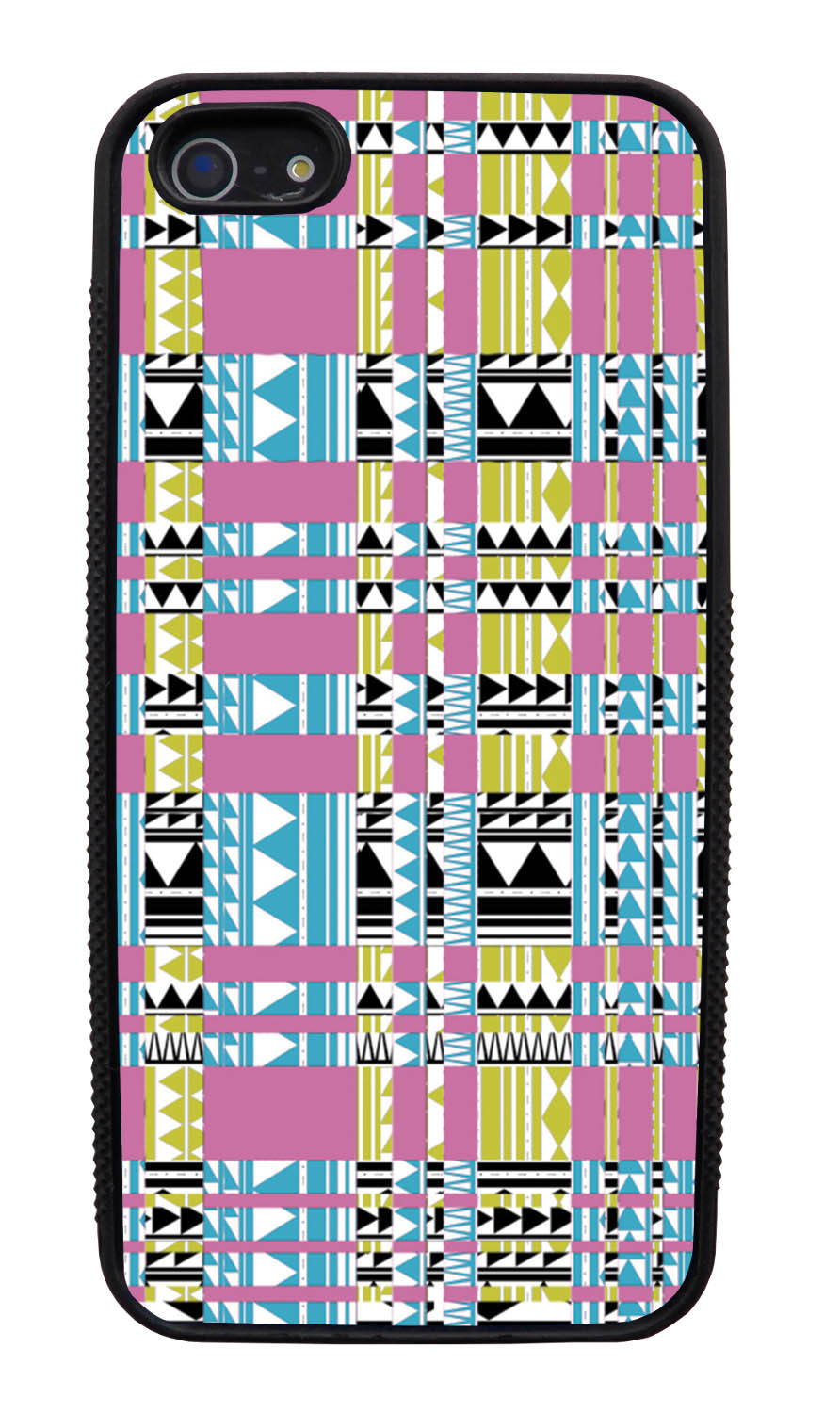 Apple iPhone 5 / 5S Aztec Case - Glitched Inverse - Geometric - Black Slim Rubber Case