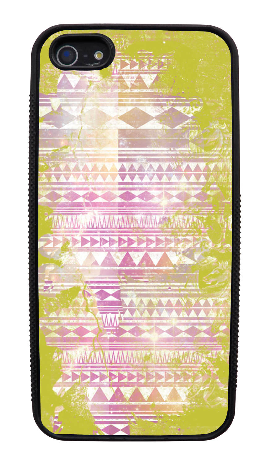 Apple iPhone 5 / 5S Aztec Case - Yellow and White Paint with Pink - Paint Splatter Overlay - Black Slim Rubber Case