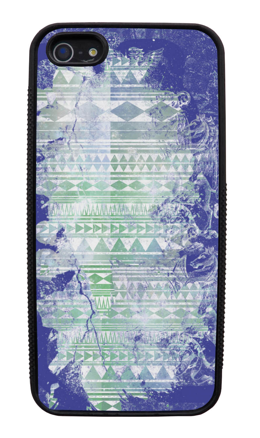 Apple iPhone 5 / 5S Aztec Case - Purple and Off-White Paint with Green - Paint Splatter Overlay - Black Slim Rubber Case