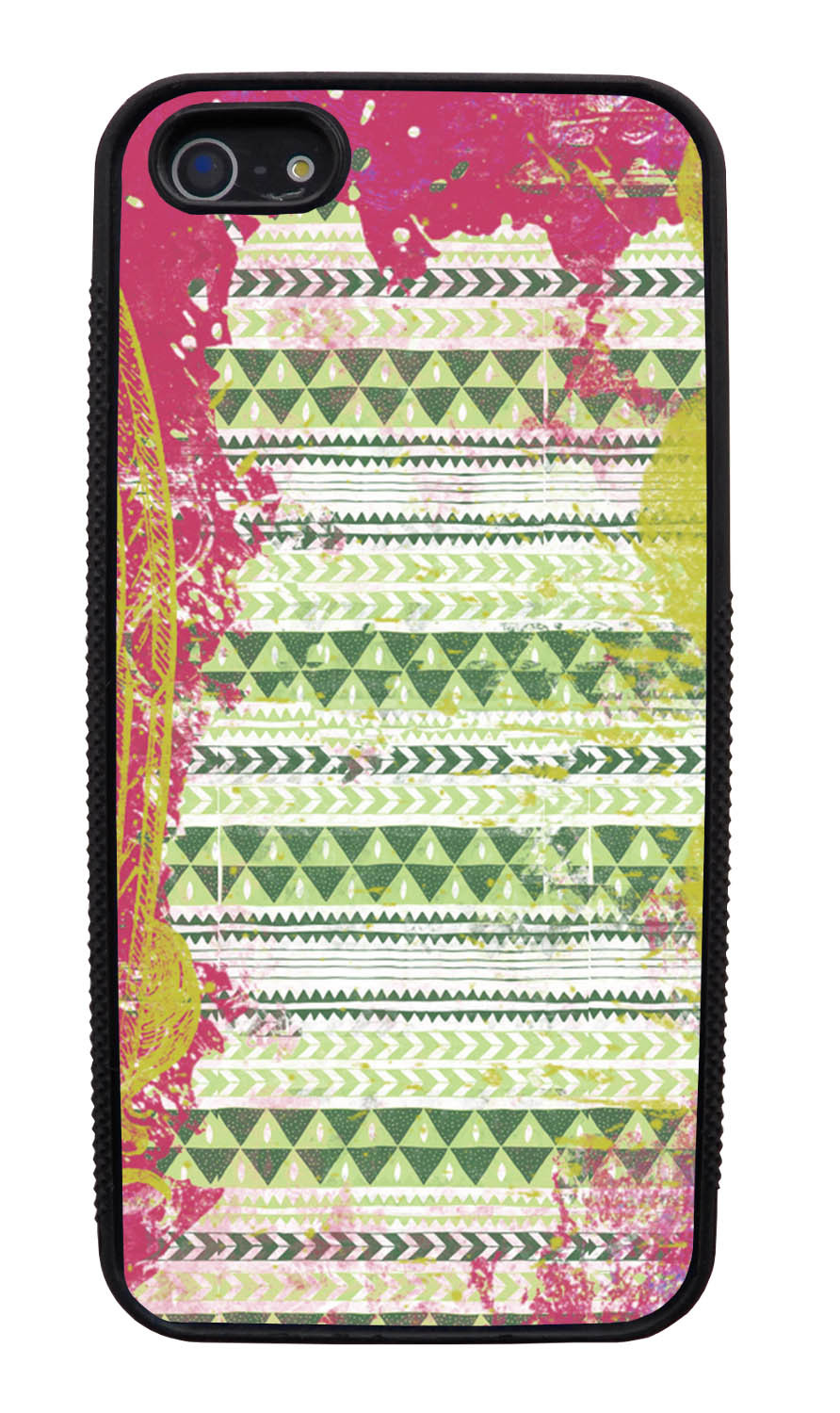 Apple iPhone 5 / 5S Aztec Case - Pink and Yellow Paint with Green - Paint Splatter Overlay - Black Slim Rubber Case