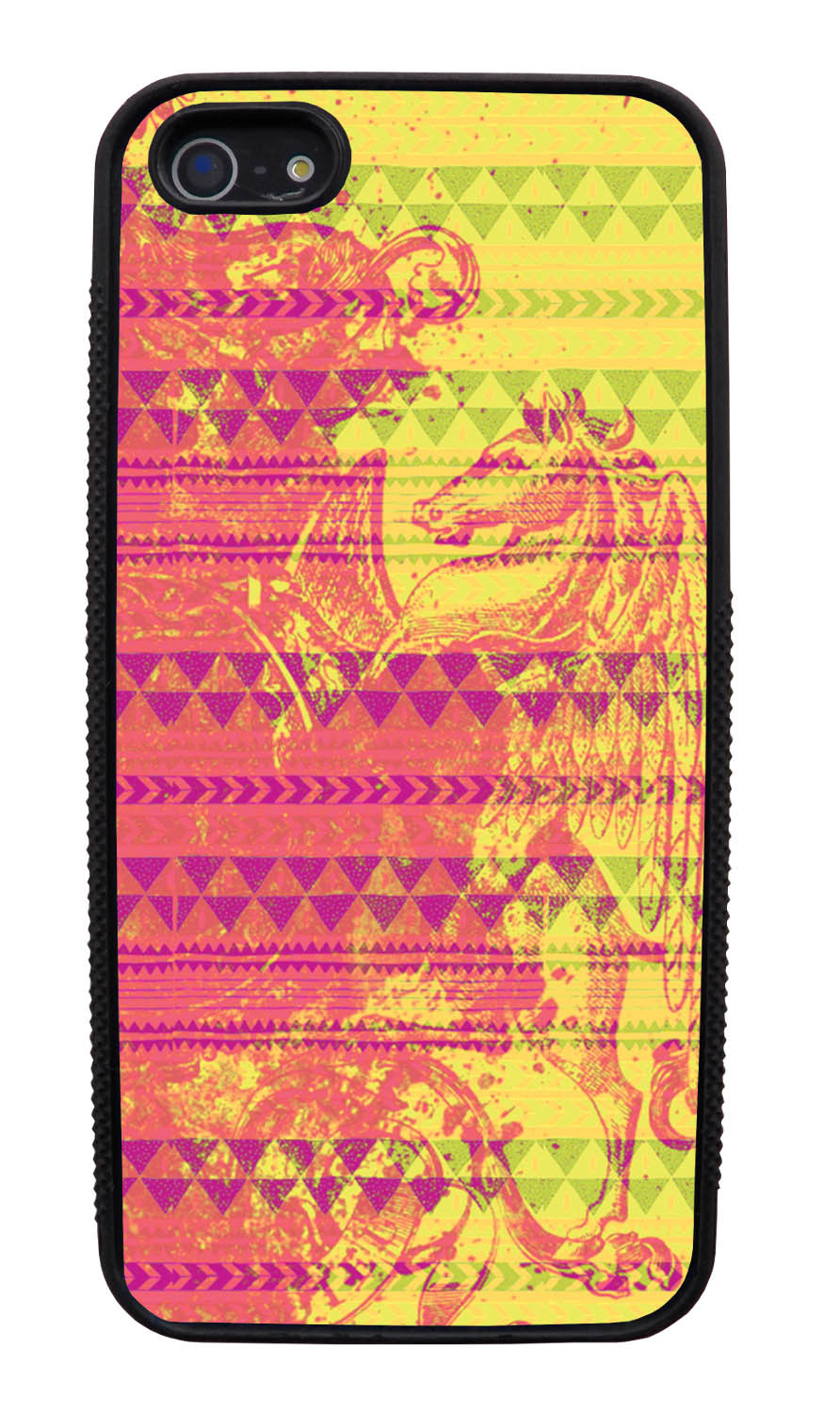 Apple iPhone 5 / 5S Aztec Case - Pink Paint with Hot Pink, Yellow, and Green - Paint Splatter Overlay - Black Slim Rubber Case