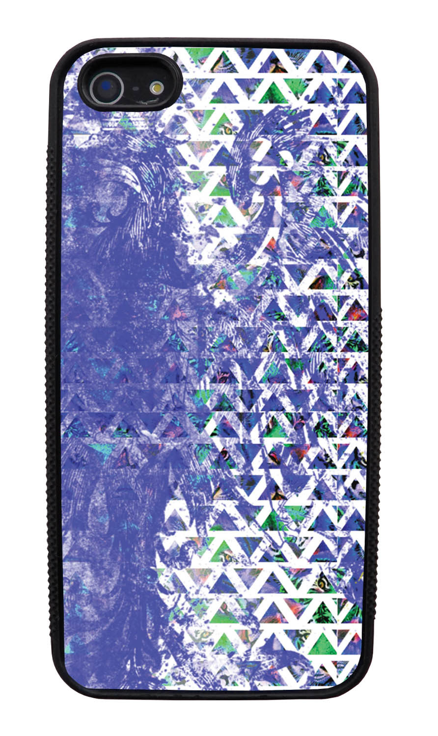 Apple iPhone 5 / 5S Aztec Case - Purple Smear Paint with Green and White - Paint Splatter Overlay - Black Slim Rubber Case
