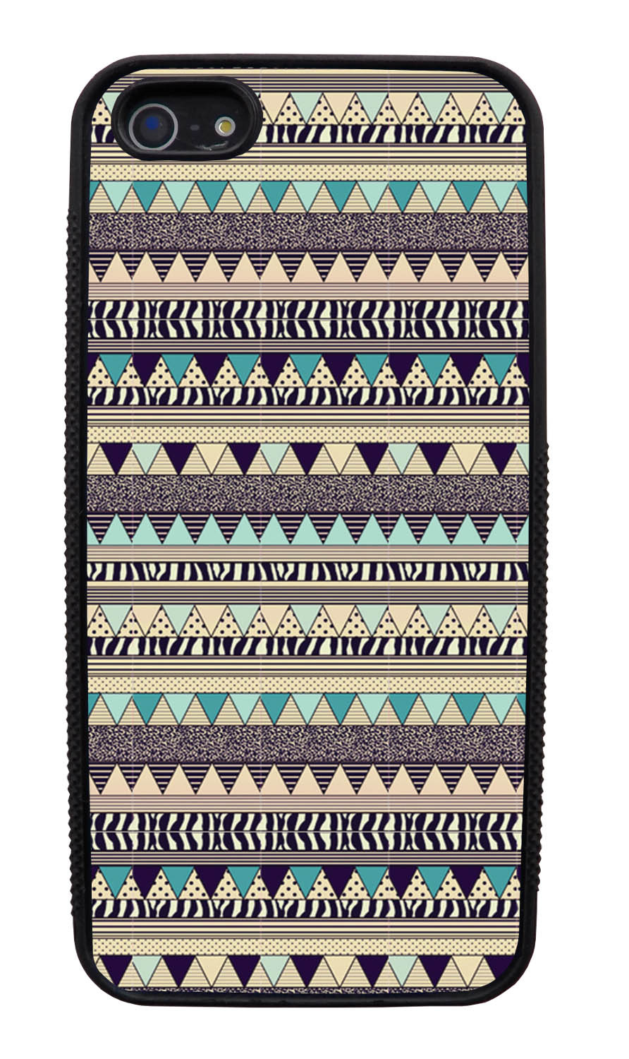 Apple iPhone 5 / 5S Aztec Case - Textured Blue Beige - Geometric - Black Slim Rubber Case