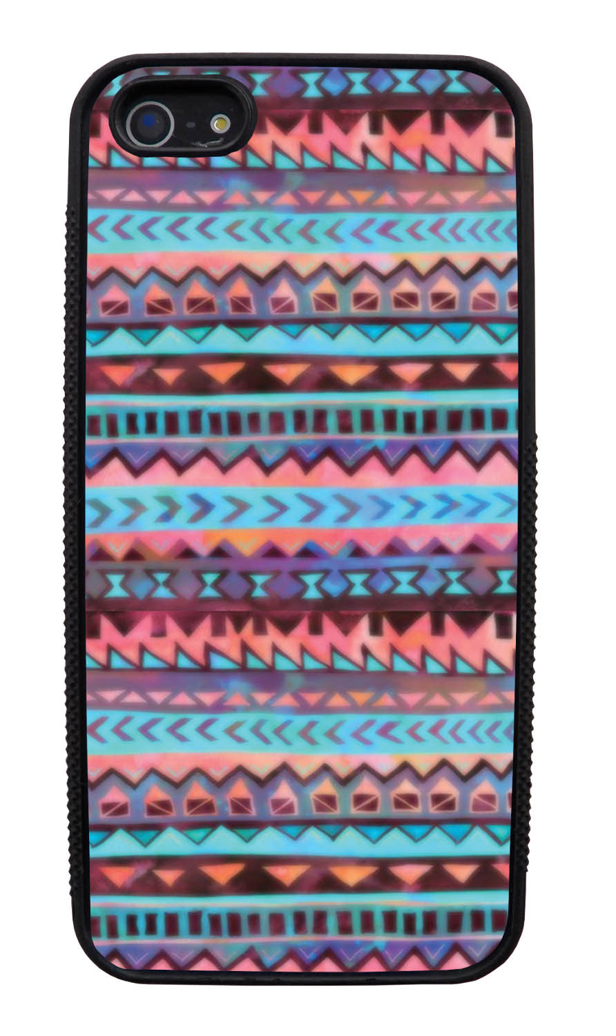 Apple iPhone 5 / 5S Aztec Case - Pink and Purple Traditional - Ceramic Glaze Like - Black Slim Rubber Case