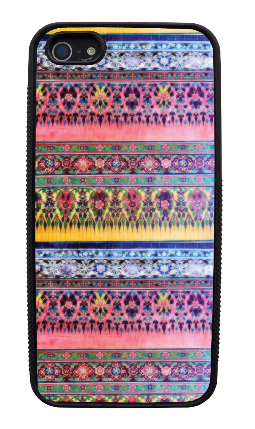 Apple iPhone 5 / 5S Aztec Case - Winter Pink and Yellow - Ceramic Glaze Like - Black Slim Rubber Case