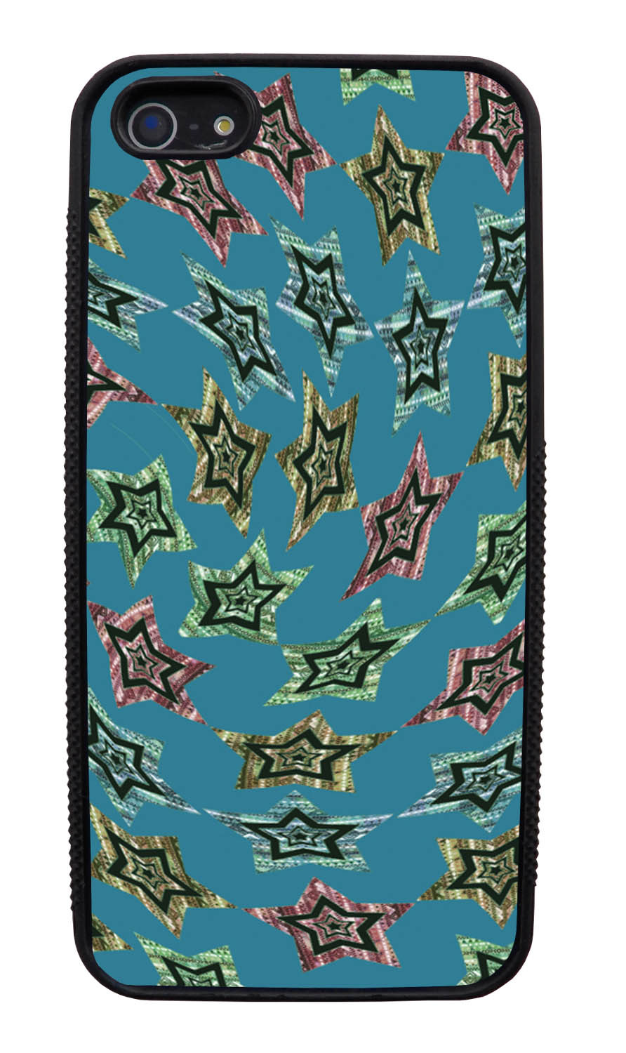 Apple iPhone 5 / 5S Aztec Case - Whirlwind Stars - Geometric - Black Slim Rubber Case