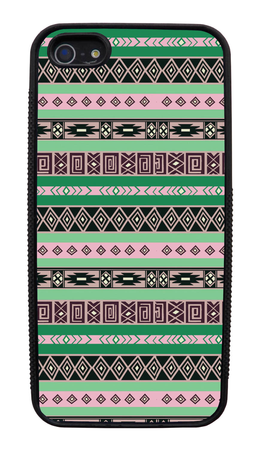 Apple iPhone 5 / 5S Aztec Case - Spring Colored - Geometric - Black Slim Rubber Case
