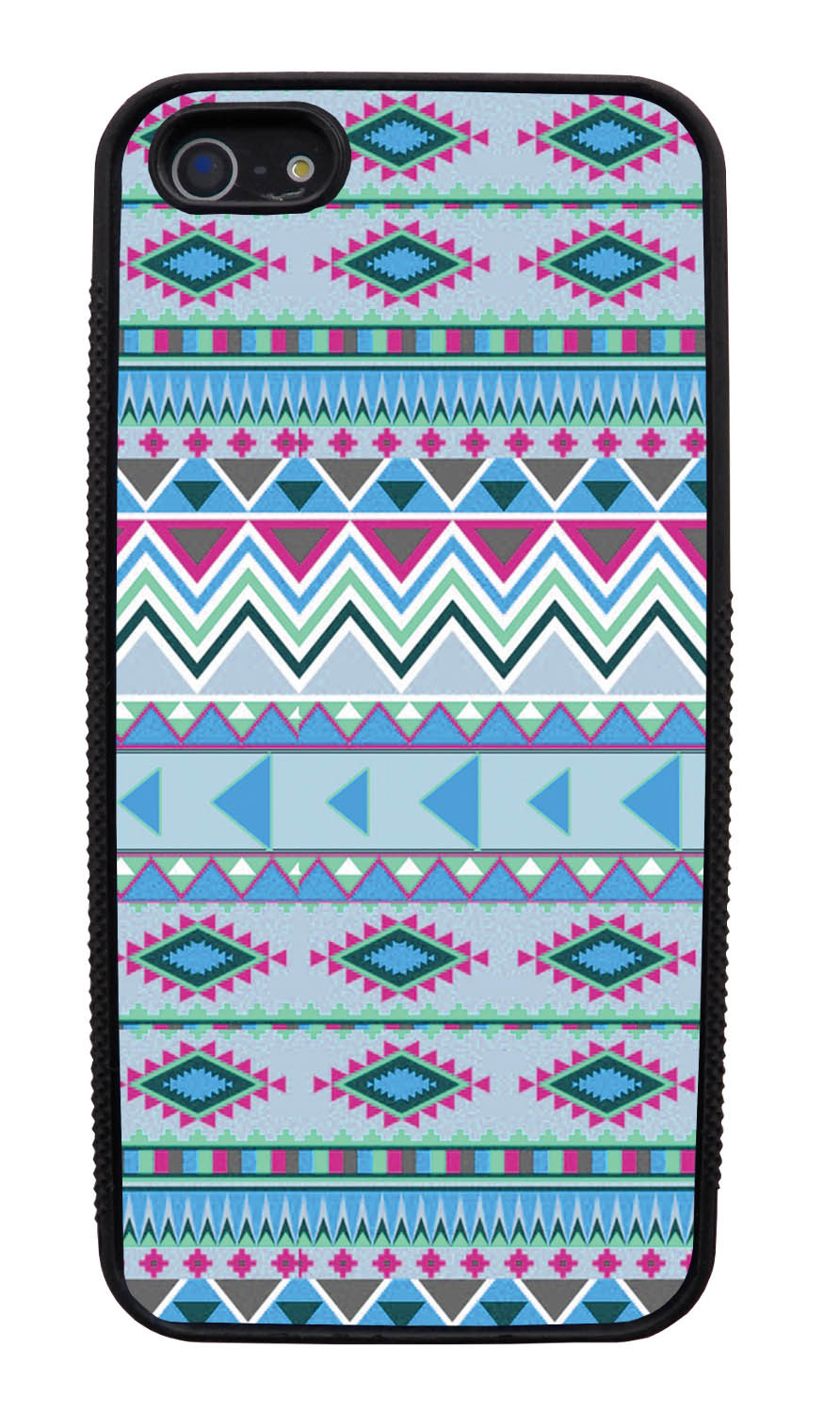 Apple iPhone 5 / 5S Aztec Case - Winter Colored - Geometric - Black Slim Rubber Case