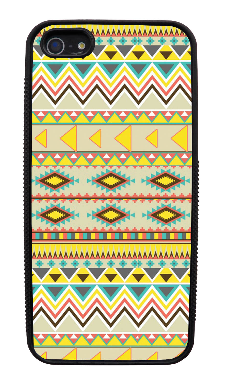 Apple iPhone 5 / 5S Aztec Case - Summer Colored - Geometric - Black Slim Rubber Case