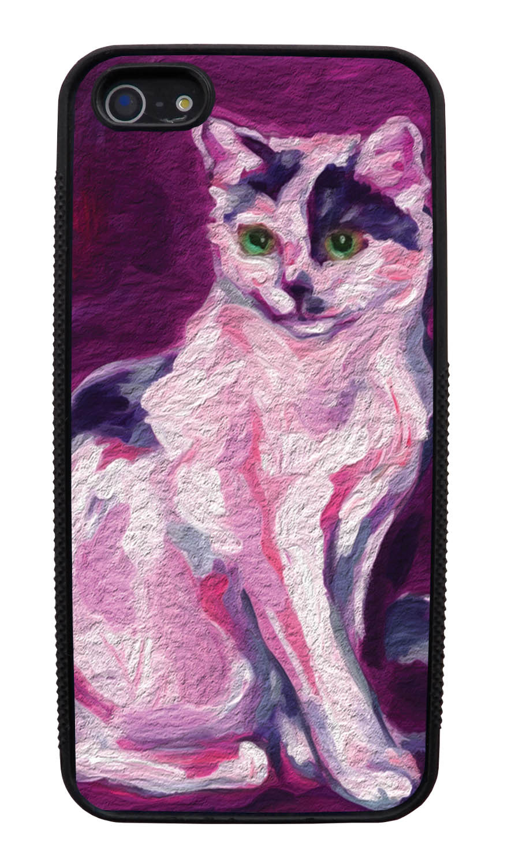 Apple iPhone 5 / 5S Cat Case - Painted Cat Picture - Cute Pictures - Black Slim Rubber Case