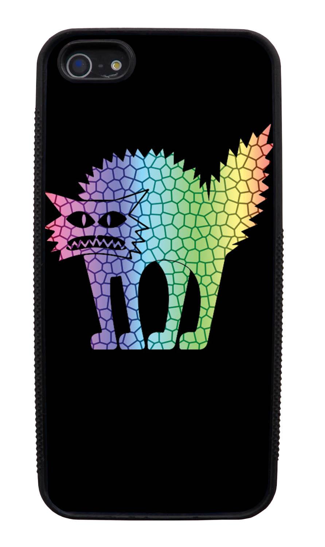 Apple iPhone 5 / 5S Cat Case - Rainbow Colored Frenzied Cat on Black - Simple Stencils Cutout - Black Slim Rubber Case