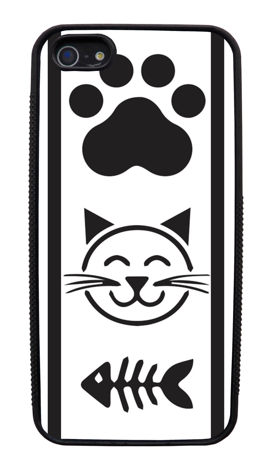 Apple iPhone 5 / 5S Cat Case - Black Cat Icons on White - Simple Stencils Cutout - Black Slim Rubber Case