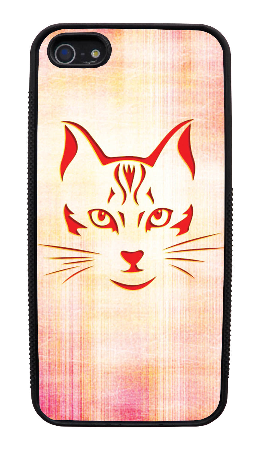 Apple iPhone 5 / 5S Cat Case - Red Cat Face on Light Orange-Pink - Simple Stencils Cutout - Black Slim Rubber Case